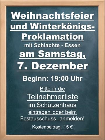 Weihnachtsfeier und Winterkönigsproklamation 2019