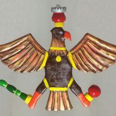 Auf diesen stolzen, von Gerald Schuchardt handgefertigten Vogel haben wir geschossen, bis der Rumpf als letztes Teil gefallen ist.